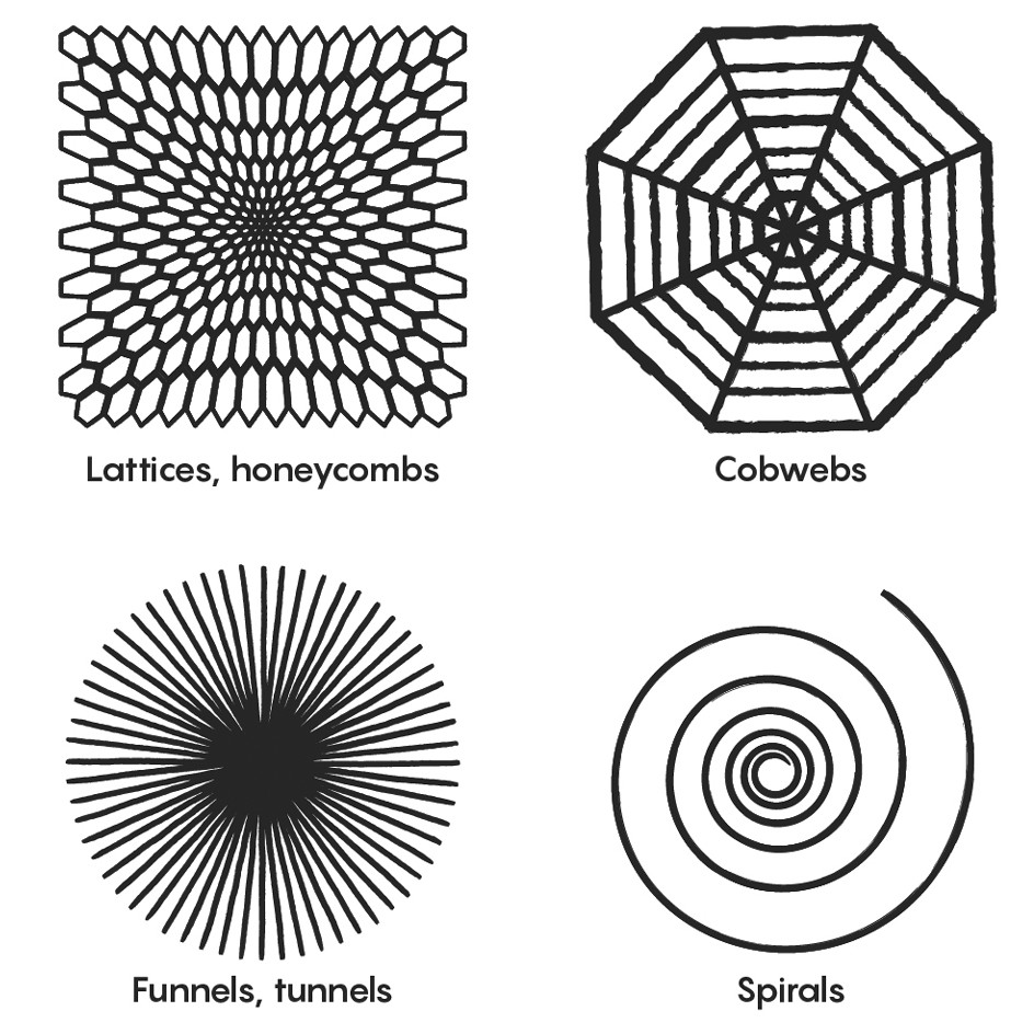 The reoccuring patterns we see in nature, and in hallucinations